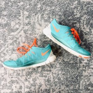 Nike Free | Turquoise Orange 5.0 Running Sneakers